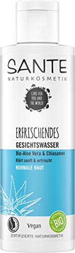 SANTE Naturkosmetik Erfrischendes Gesichtswasser Bio-Aloe Vera & Chiasamen, Ohne Alkohol, Natürliche Reingung für jede Haut, Spendet Feuchtigkeit, Vegan, 125ml 40159