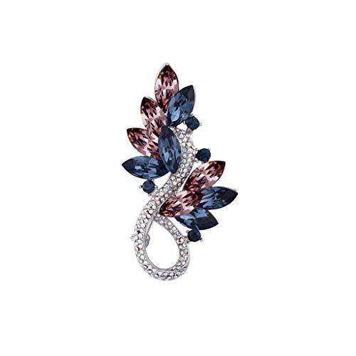 ZWSHOP Broche de estilo europeo y americano, elemento de cristal, azul y rojo, joyera de vestir Western Assembly, bufanda de seda, 7 x 3,8 cm (color: azul rojo)