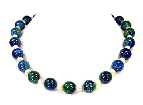 Wunderschöne Halskette aus dem Edelstein Azurit-Malachit mit Süsswasserperlen