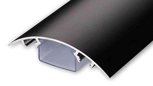TV Design Aluminium Kabelkanal in schwarz stumpfmatt RAL9005 lackiert von ALUNOVO in Länge: 50cm