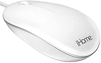 iHome Wired Mac Mouse with Scroll Wheel, 3-Buttons, 1600 DPI, Laptops and Computers, Slim and Compact, Right or Left Hand Use, White
