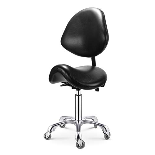 Opqpq Adjustable Saddle Stool with Back Support, Swivel Rolling, Comfortable Ergonomic Spa Bar Stool Chair for Salon Workshop Home Office Studio Clinic