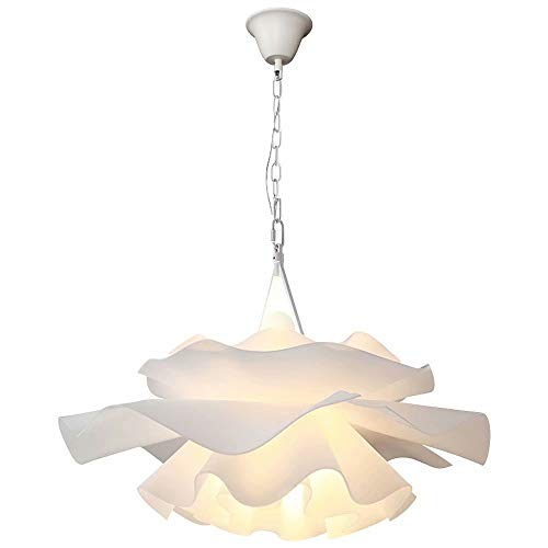 Araña de flores de acrílico, doble cabezal E27 Lámpara colgante LED 5W luz cálida Lámpara colgante de techo de flor blanca para habitación de niños,dormitorio,cadena de hierro forjado
