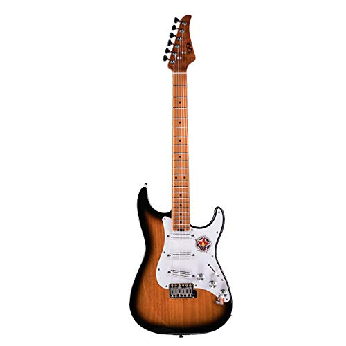 EART Solid-Body Electric Guitar, Dual Humbucker Pickups,Maple Fingerboard -Round Polished Stainless Steel Frets - Sunburst