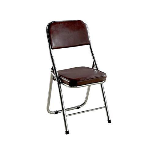 Chair-M Klappstuhl Leder Metall Klappstuhl Verdickung Erweiterung weichen Bürostuhl moderner Klappstuhl,Braun