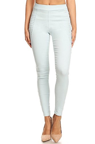 Jvini Women's High Waist Super Stretch Pull-On Moto Skinny Jeggings with Pockets (Large, Mint)