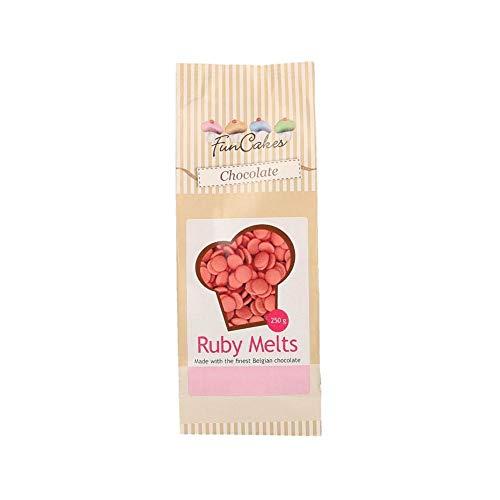 FunCakes Chocolate Melts Ruby: Derretir el Chocolate para Hacer Bombones Dulces, Goteos, Drips, Glaseado, Lloviznas. Fácil de Derretir en el Microondas o al Baño María, Halal. 350g