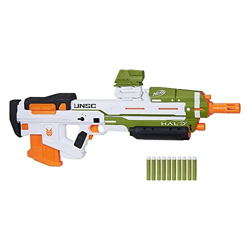 Nerf Halo MA40 motorisierter Dart Blaster – enthält abnehmbares 10-Dart Clip-Magazin, 10 Nerf Elite Darts und ansteckbares Schienenteil