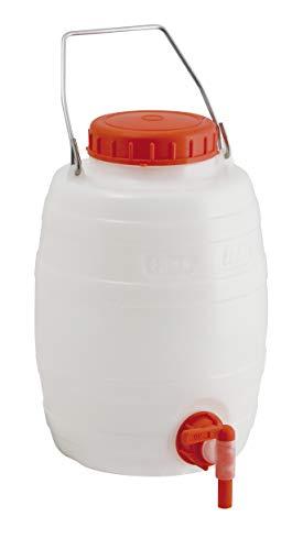 Fustino botticella in plastica 5 litri per alimenti con rubinetto e manico in acciaio per trasporto liquidi - Mobil Plastic