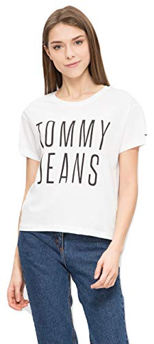 Tommy Jeans TJC Cropped Logo Tee dames T-shirts - wit - klein