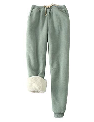Yeokou Women's Warm Sherpa Lined Athletic Sweatpants Joggers Fleece Pants (X-Large, Green)