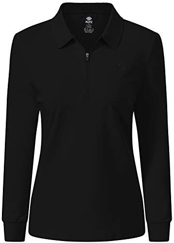 JINSHI Women's Golf Long Sleeve Shirt Solid Dry Fit Fitness Shits Zipper Up Sport Tops Ladies Ladies Work Outdoor Shirts Black XL