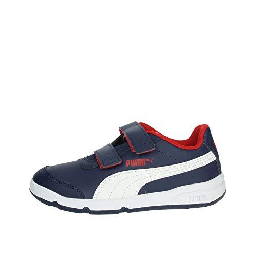PUMA Unisex Kinder Stepfleex 2 SL VE V PS Sneaker, Peacoat White-Flame Scarlet, 32 EU