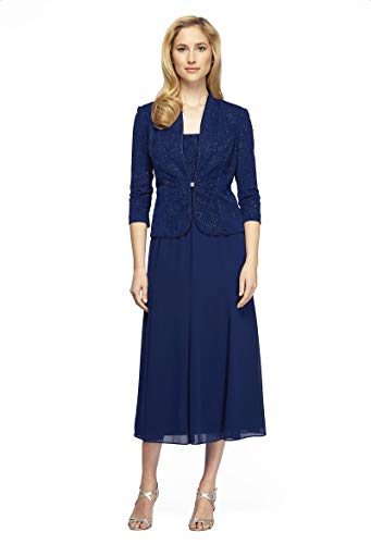 Alex Evenings Women's Long Length Blazer Jacket Dress (Petite and Regular), Electric Blue, 10P
