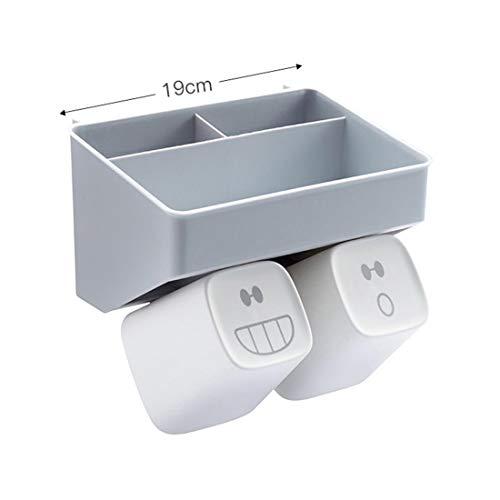 Wandhalterung Zahnbürsten Halter Anti Staub Badezimmer Speicher Organisator mit 2 Tassen/Extra Schlitze für Zahnpasta Kamm Rasierer