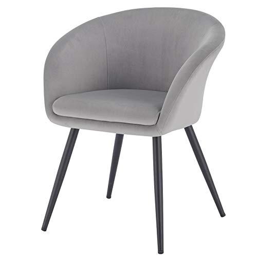 EUGAD 0321BY-1 1 Stück Esszimmerstühle Küchenstuhl Wohnzimmerstuhl Polsterstuhl mit Armlehne, Retro Design, Samt, Metall, Hellgrau