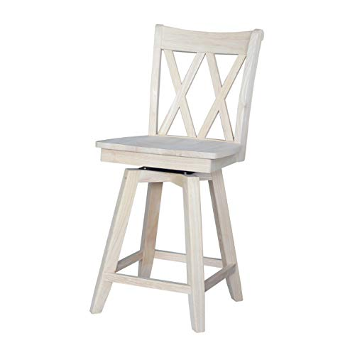 International Concepts Double X Back Counterheight Stool with Swivel and Auto Return, 24