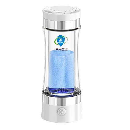 GOSOIT Wasserstoff Wasser Ionisator Wasserstoffreiche Alkalischer basischen Wasser Flasche Wasserstoffgenerator mit PEM SPE Technik Wasserstoffproduktion Konzentration 800-1200 PPb