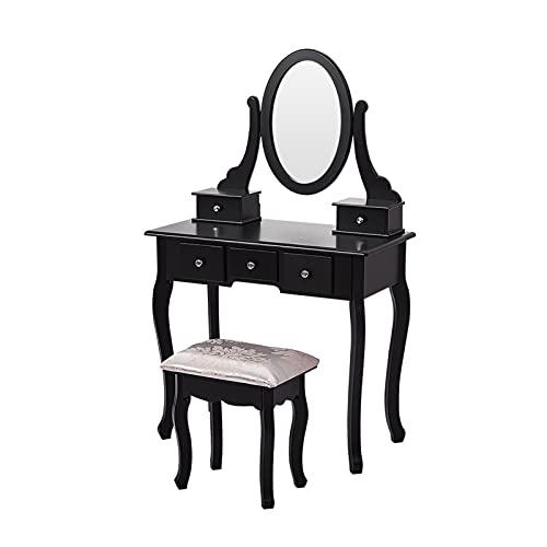 YSJJYQZ Tocador Panana Luxury Tocador de Madera Maquillaje y Stoolmirrors Joyería Gabinete 5 cajones 360 ° Spinning Mirror (Color : Black)