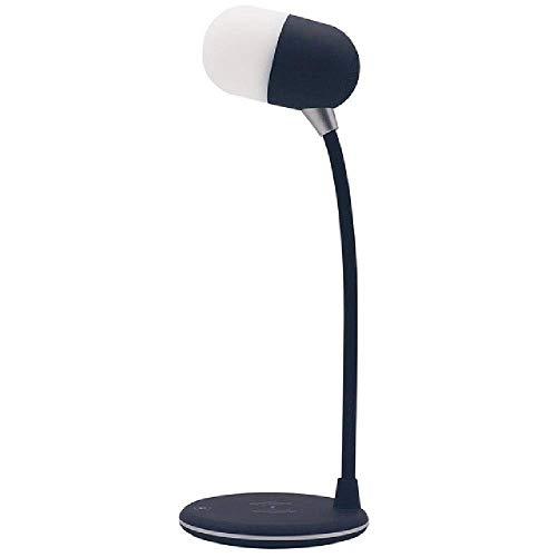 3 en 1 inalámbrico de Carga Ajustable Dimmer Libro de Lectura del Vector de la lámpara de Cuello de Cisne USB LED portátil Alimentado Altavoz de la música de Bluetooth Xping (Color : Black)