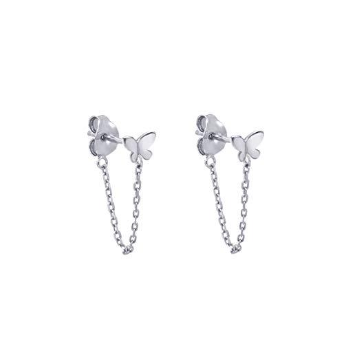 Pendientes pequeña mariposa con una cadena de plata esterlina Pendientes minimalista oro cuelgan de la Mujer (Plata)