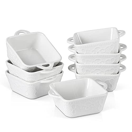 SHYPT 4/8 piezas 30 5ML Cerámica de porcelana blanca for hornear placas de placa con asa, souffle brulee pie tapas hornear platos hornear (Size : 8-Piece)