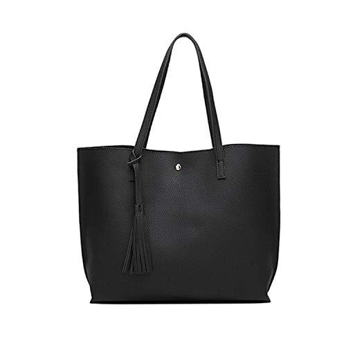 Messenger Leather Casual Tassel Handbags Designer Bag Vintage Big Size Tote Shoulder Bag,Black