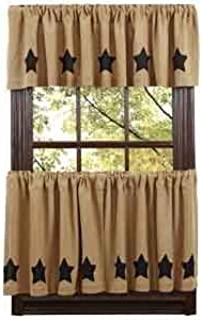 Nancy's Nook Burlap Natural Tier Black Stencil Stars Set of 2-24x36