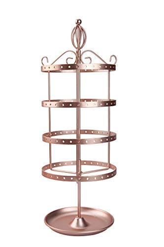 4 Tiers Rotating Jewelry Organizer Earring Holder Stand Earring Tree Tabletop Metal Display Rack for Women and Girl - Rose Gold