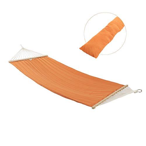 Ampel 24 XL Outdoor Hängematte Island mit extra Kissen, gepolsterte Single Stabhängematte orange, Querholz chinesische Kirsche, Belastbarkeit 120 kg