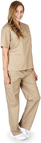 M M SCRUBS Women Scrub Set Medical Scrub Top and Pants S Khaki product image