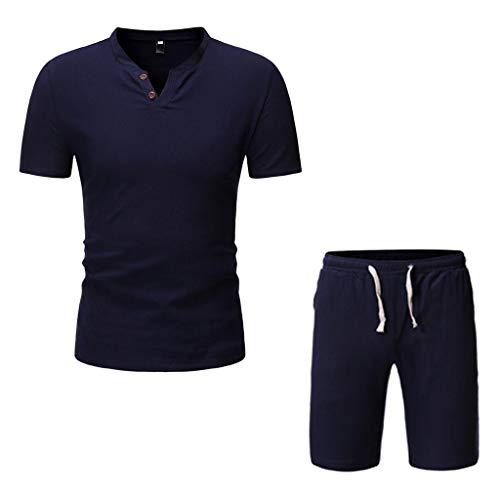 Yowablo Herren Leinenhemd Hemd Kurzarm Sommer T-Shirt Lässiger, bequemer Kurzarm-Shorts-Anzug aus Baumwollleinen (3XL,Marine)