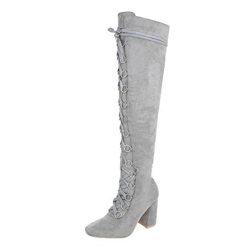 Ital-Design Overknees Damen-Schuhe Overknees Pump Schnürer Reißverschluss Stiefel Hellgrau, Gr 36, Jr-009-