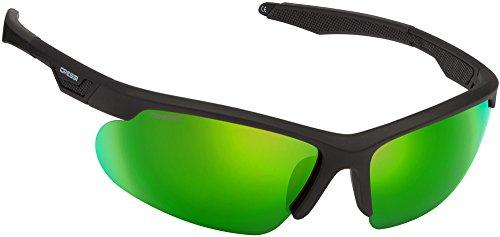Cressi Speed Occhiali da Sole Uomo Sportivi Avvolgenti, Polarizzati, Antiriflesso con Protezione UV 100%, Nero/Lente Specchiata Verde