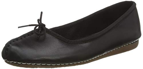 Clarks Damen Mokassin Ballerinas, Schwarz (Black Leather), 43 EU