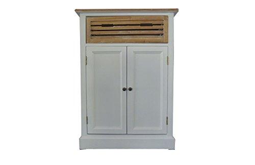 SAM® Highboard II Paris 423 aus weiß lackiertem Paulowniaholz im Landhausstil, teilmassiv, 1 Holzkiste, viel Stauraum