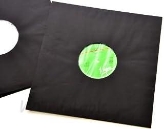 CUIDATUMUSICA Fundas Interiores de Papel Negro + Antiestático Discos de Vinilo LP - Pack de 100 Fundas - / Ref.2434