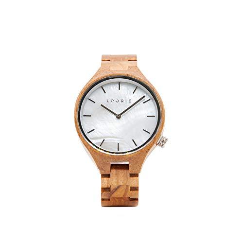 LOORIE Partneruhr - aus Olivenholz und Perlmut Armbanduhr - Naturprodukt - Hypoallergen - nachhaltig - Romeo & Julia (Julia, 38mm)