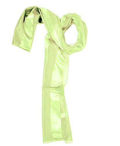 Solid Polyester Satin Scarf, LIME GREEN