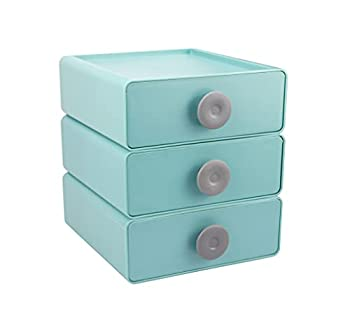 Ukwell Plastic Storage Drawers Stackable Desktop Organizer Box 3-Drawer Set for Makeups Jewelry Crafts Office Supplies Hair Accessories Great for Dresser Vanity Countertop Desk  Green