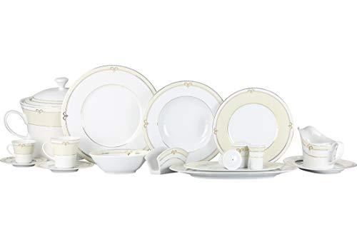 Kütahya Premium Bone Vajilla 12personas | 83piezas | Producto de marca Lavavajillas | Certificado | Stick Diseño | Blanco | Crema | redondo