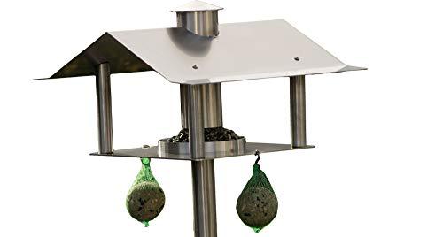 Steelbutze Vogelhaus mit Ständer aus Edelstahl - Futterhaus für Vögel, Vogelhäuschen mit Silo | leichter Aufbau, stehend | für den Garten, Balkon und Terrasse
