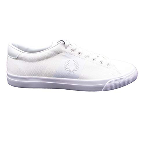 Fred Perry Men's Underspin PLASTISOL Twill Sneaker, White/White, 6.5 D UK (7.5 US)