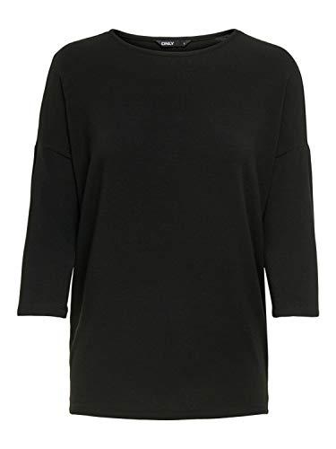 ONLY Damen ONLGLAMOUR 3/4 TOP JRS NOOS T-Shirt, Schwarz (Black Black), Large (Herstellergröße: L)