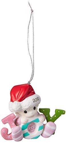 Precious Moments Enfeite de porcelana para menina 191005 do primeiro Natal 2019 com data bisque, tamanho único, multi