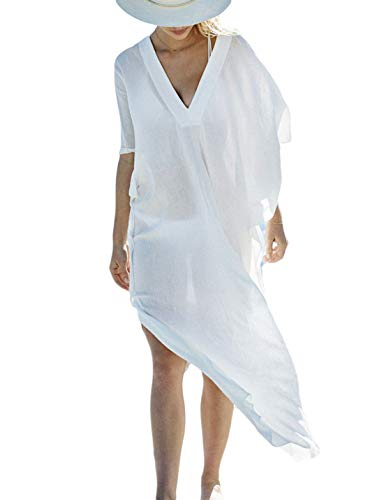 Ailunsnika Women Chiffon White Bikini Swimsuit Cover Up V Neck Batwing Sleeve Turkish Kaftan Beach Dress