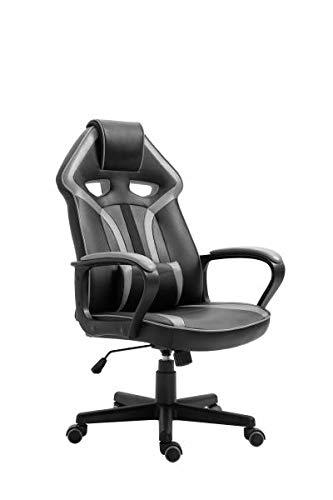 Gaming Stuhl Chefsessel Casino von Intra Direct Kunstleder schwarz/grau