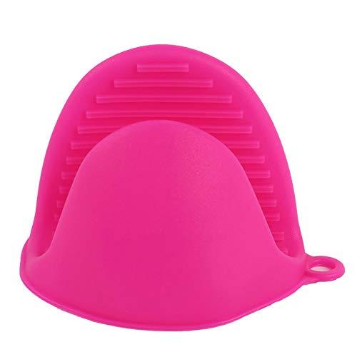 PPuujia Guantes de silicona de grado alimenticio para cocina, aislamiento térmico de cocina, carpeta, clip de horno en la mano (color rosa rojo)