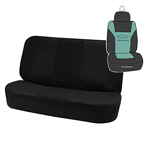 FH Group Classic Cloth Solid Bench Seat Cover– Universal Fit for Cars Trucks & SUVs (Black)