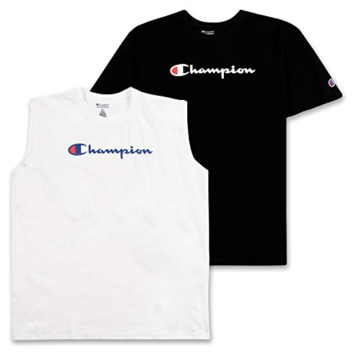 Champion Mens Shirts, Big and Tall Tshirts for Mens & Tank Top Workout Top 2 Pack Black/White